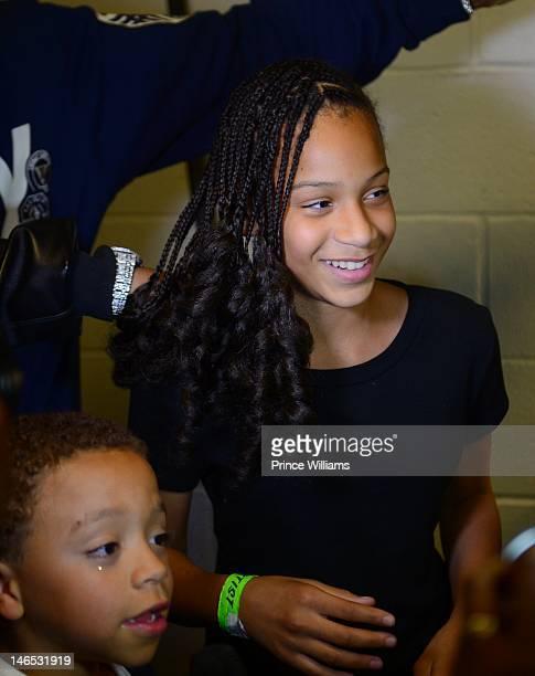 King Harris and DeyJah Harris backstage at the 1079 Birthday Bash 17 at Philips Arena on June 16 2012 in Atlanta Georgia