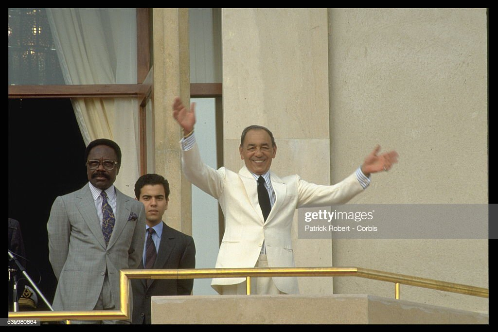 King Hassan II accompanied by his son Prince Moulay Rachid and President Gabon Omar Bongo.