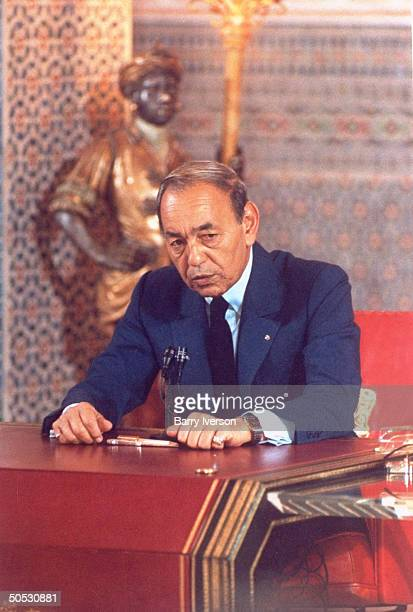 King Hassan II during No. Afr. Arab ldrs. Summit re forming Maghreb Union - new economic bloc incl. Libya, Morocco, mauritania, Algeria & Tunisia.