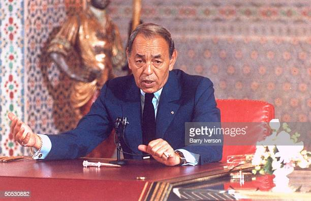 King Hassan II during No Afr Arab ldrs summit re forming Maghreb Union new economic bloc incl Libya Morocco mauritania Algeria Tunisia
