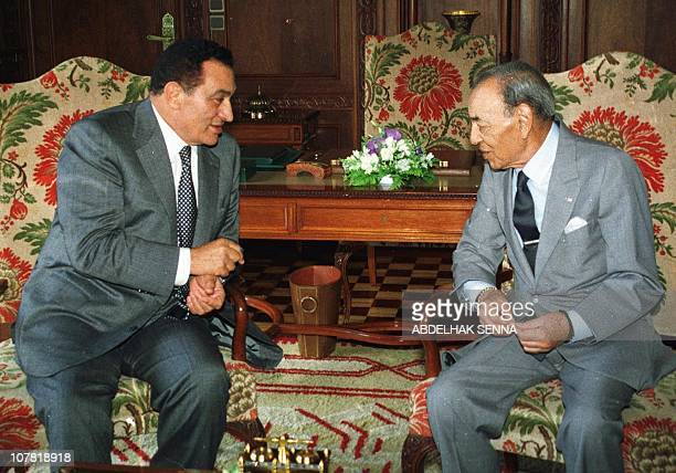 King Hassan II of Morocco and Egyptian President Hosni Mubarak confer 12 June 999 at the Rabat Royal Palace Mubarak is on an official visit to...