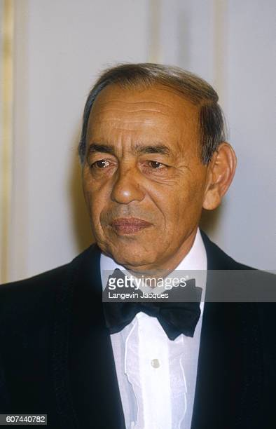 King Hassan II of Morocco at Palais de l'Elysee.