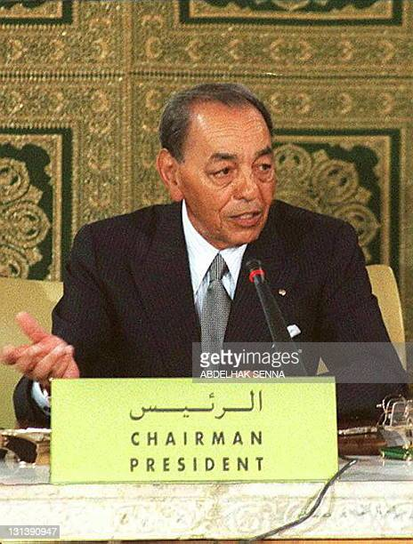 King Hassan II of Morocco presides 27 March over the meeeting of the Jerusalem committee of the Organisation of Islamic Conference at the royal...