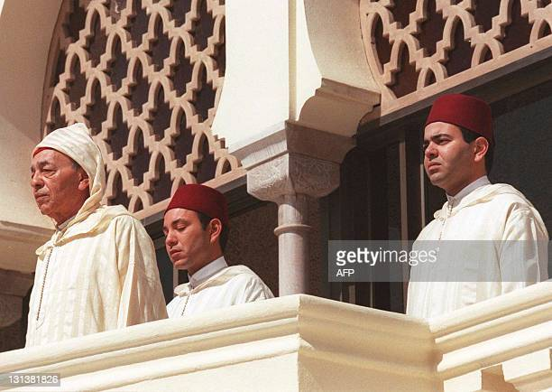 King Hassan II of Morocco receives wishes from military political and governement officials 03 March at his palace in the capital Rabat on the 37th...