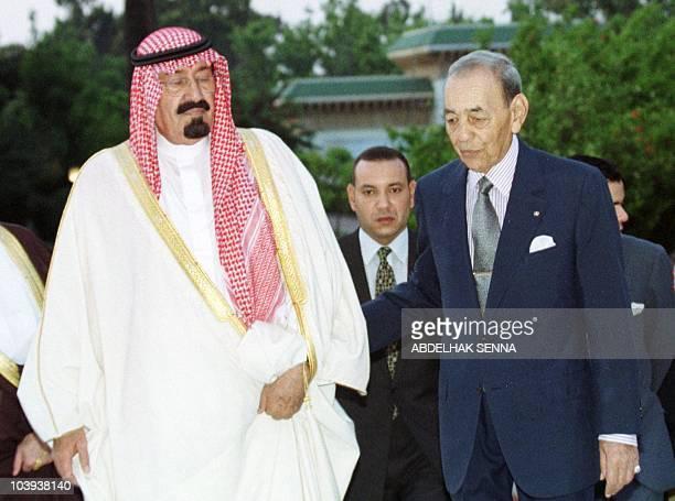 King Hassan II of Morocco welcomes Saudi crown prince Abdullah bin Abdel Aziz 26 May 1999 at the Rabat Royal Palace Abdullah is in Morocco for a...