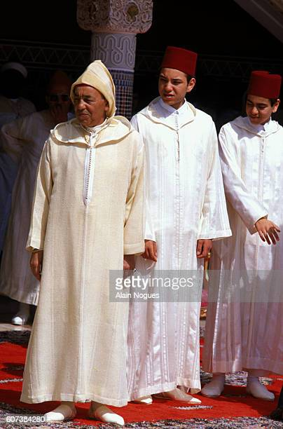 King Hassan II with his sons, Crown Prince Sidi Mohammed and Prince Moulay Rachid.