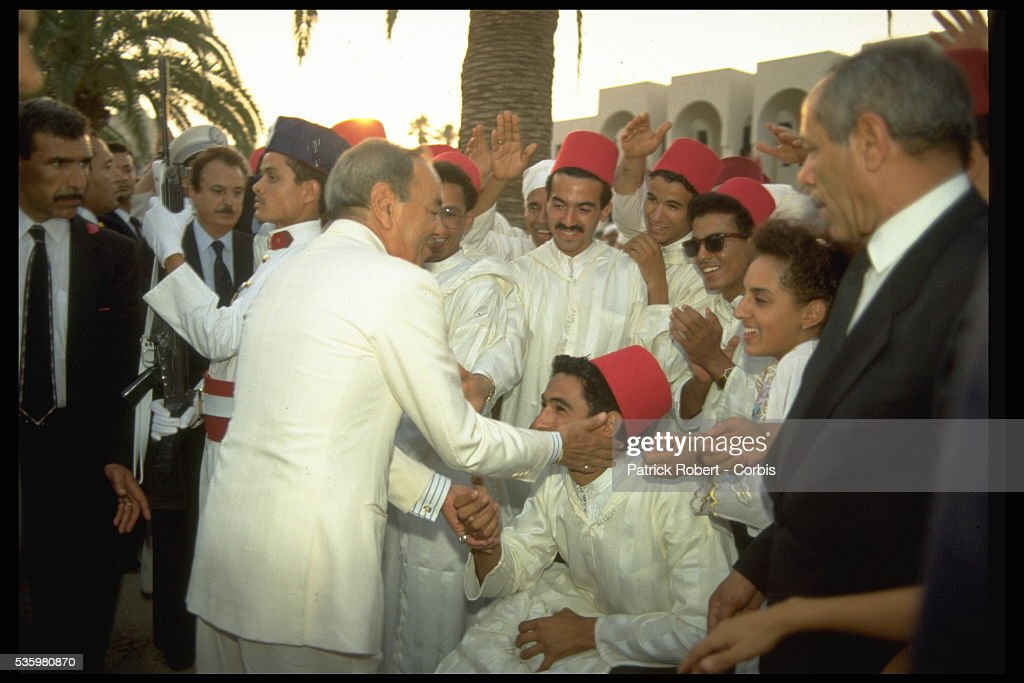 King Hassan II with Moroccans.