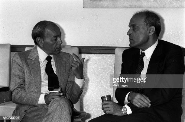 King Hassan of Morocco takes a break for a cup of his mint tea and a cigarette with Professor Magdi Yacoub at Harefield Hospital during his fourday...