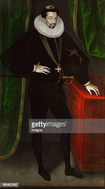 King Henri III of France , last king of the House of Valois, third son of Catherine de Medici. His reign saw the civil war between Huguenots and the...