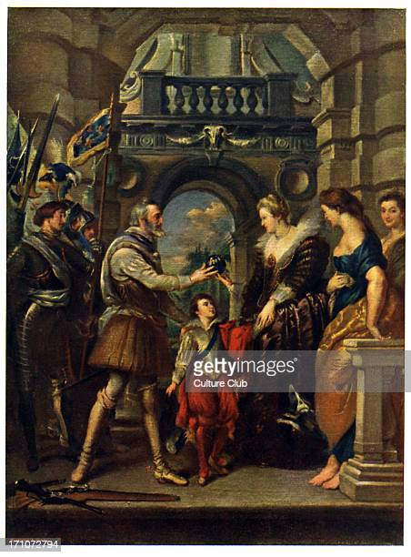 King Henri IV of France and wife Marie de' Medici by Rubens. 'The Consignment of the Regency,' part of Marie de'Medici cycle. Henri IV entrusts Marie...