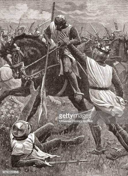 King Henry III in danger during the Battle of Evesham part of The Second Baron's War in 1265 From Cassell's History of England published c1901