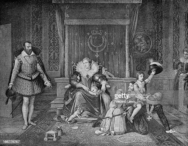 King Henry IV of France receives the Spanish ambassador whilst at home playing with his family. From a painting by Jean Auguste Dominique Ingres .