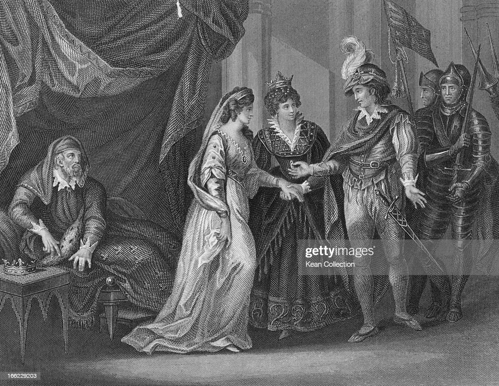 King Henry V of England (1386 - 1422) receives Princess Catherine of Valois, daughter of King Charles VI of France, in marriage at the conclusion of the Treaty of Troyes, France, 21st May 1420. Engraving by J. Rogers after W. Hamilton.