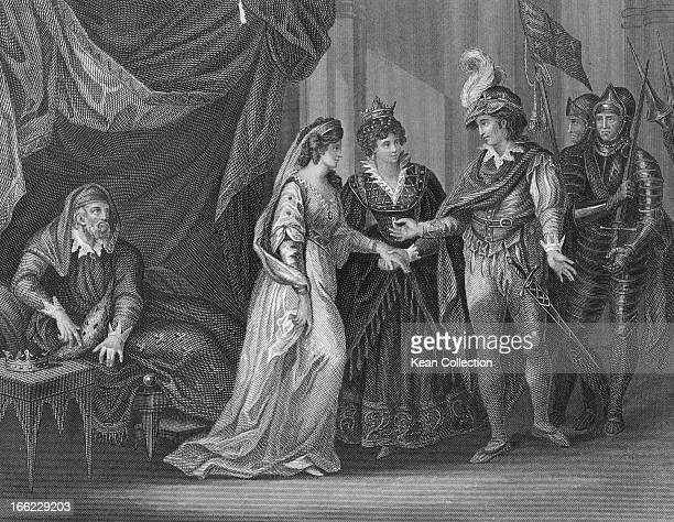 King Henry V of England receives Princess Catherine of Valois, daughter of King Charles VI of France, in marriage at the conclusion of the Treaty of...
