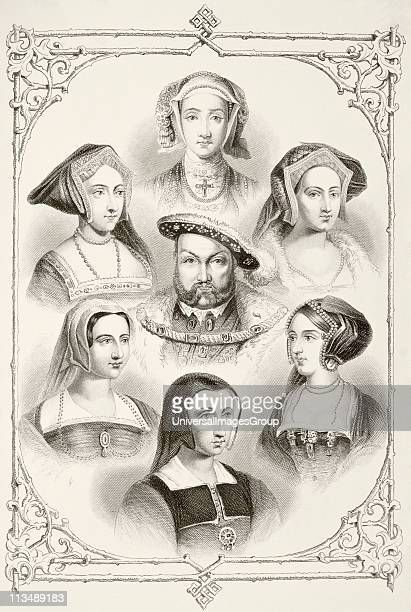 King Henry VIII of England and his six wives From top centre and clockwise Anne of Cleves Catherine Howard Anne Boleyn Catherine of Aragon Catherine...