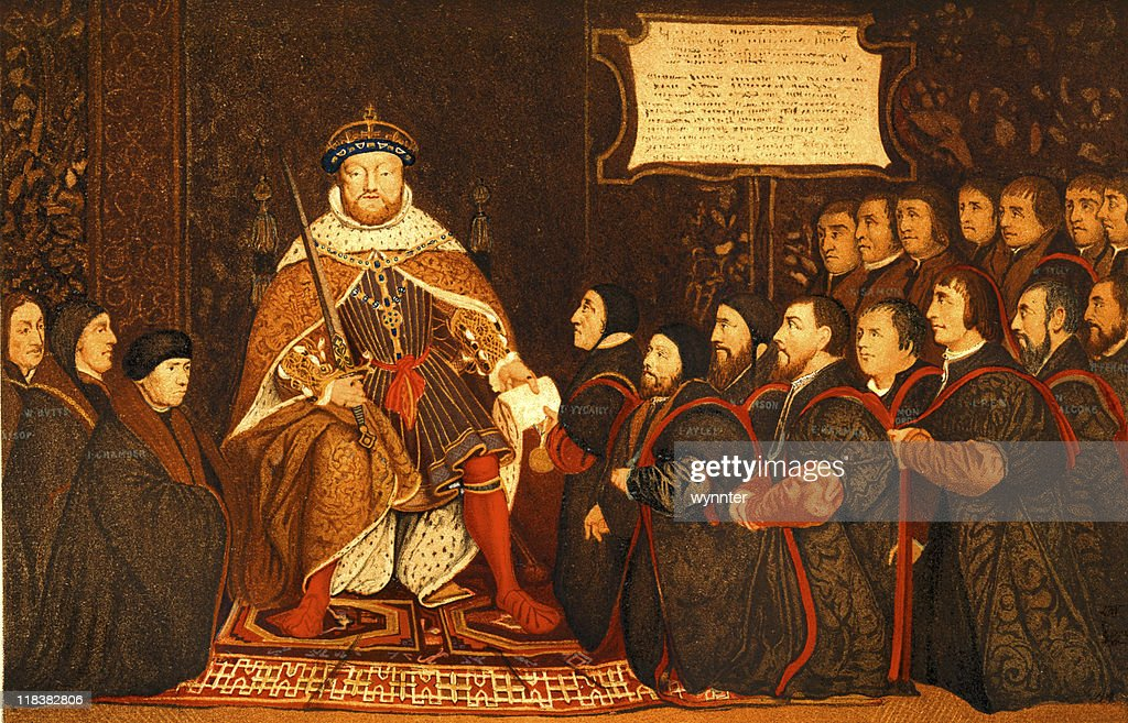 King Henry VIII Presents Charter to Barber-Surgeons : Stock Photo