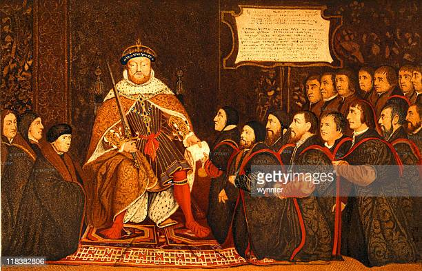 king henry viii presents charter to barber-surgeons - koning koninklijk persoon stockfoto's en -beelden