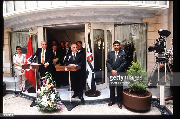 King Hussein and Swiss President Flavio Cotti hold a press conference May 17 1998 in Amman Jordan Still a teenager when crowned in 1952 Hussein has...
