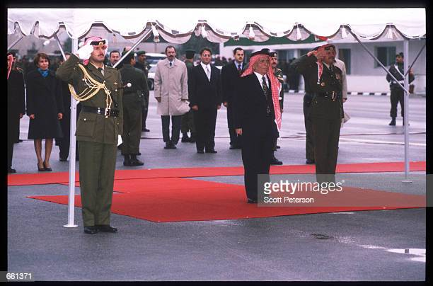 King Hussein arrives at the airport January 19 1999 in Amman Jordan King Hussein returns after spending six months at the Mayo clinic in Minnesota...