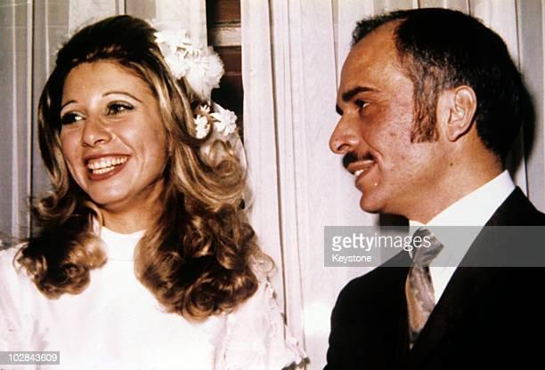 King Hussein of Jordan and Alia Baha ad-Din Touqan , the Queen consort of Jordan, circa 1972. Alia became the third wife of King Hussein of Jordan...