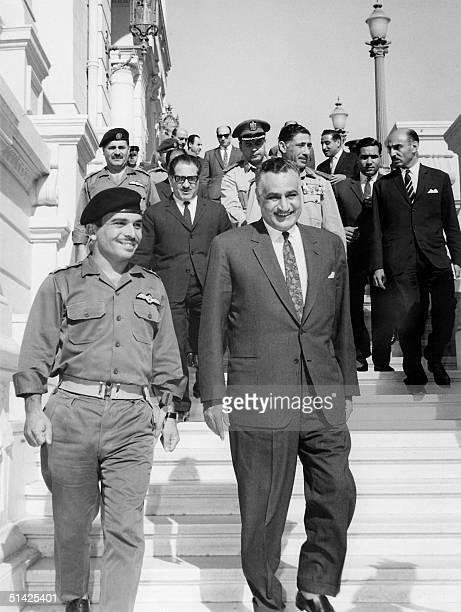 King Hussein of Jordan and Egyptian President Gamal Abdul Nasser smile after signing a Jordan-Egyptian defense agreement June 1967 in Cairo.