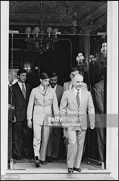 King Hussein of Jordan and his son, future King Abdallah, leave restaurant Ledoyen in Paris in 1979.