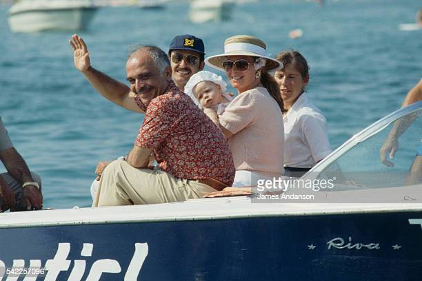 King Hussein of Jordan and his wife Queen Noor al Hussein formerly known as Elizabeth Najeeb Halaby holding their new born daughter the Princess Iman...