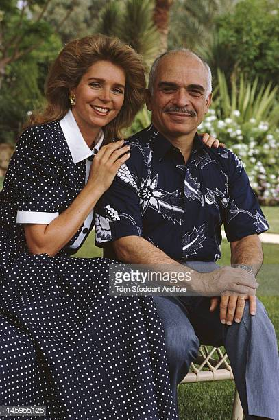 King Hussein of Jordan and his wife Queen Noor of Jordan in Jordan circa 1987
