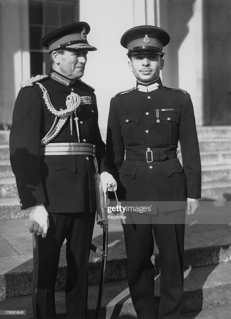 King Hussein of Jordan (1935 - 1999) during a passing out parade at Sandhurst, Berkshire, February 1953.