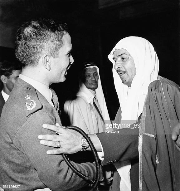 King Hussein of Jordan meets tribal chiefs from all over the country at the Royal Hashemite Court in Amman Jordan early November 1970