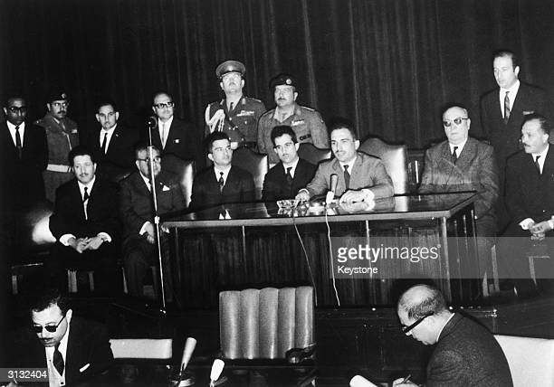 King Hussein of Jordan names his brother Prince Hassan the Crown Prince of Jordan at the parliament building in Amman 5th April 1965 Certain factions...