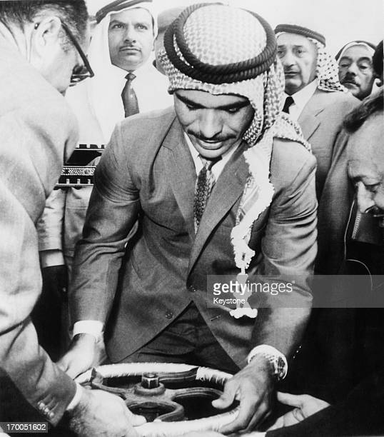 King Hussein of Jordan opens a new water project in southern Jordan whilst on a tour of the country 10th November 1964