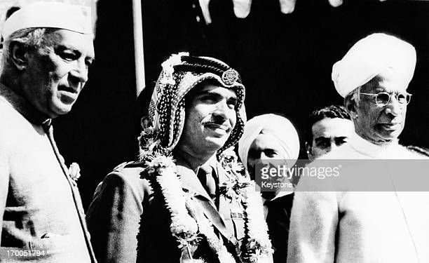 King Hussein of Jordan visits Palam New Delhi to meet with President Sarvepalli Radhakrishnan and Jawaharlal Nehru India 7th December 1963