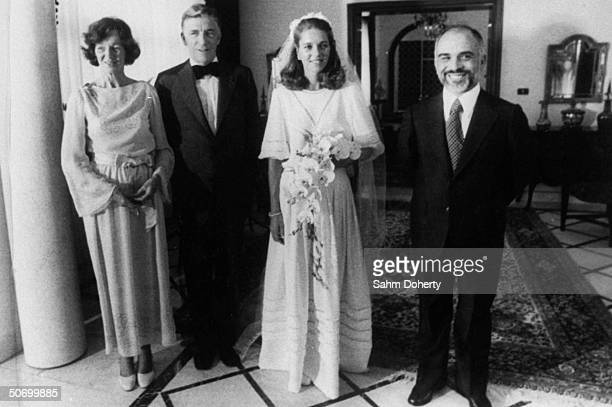 King Hussein of Jordan with bride Lisa Halaby and her parents Najeeb Doris in wedding day portrait