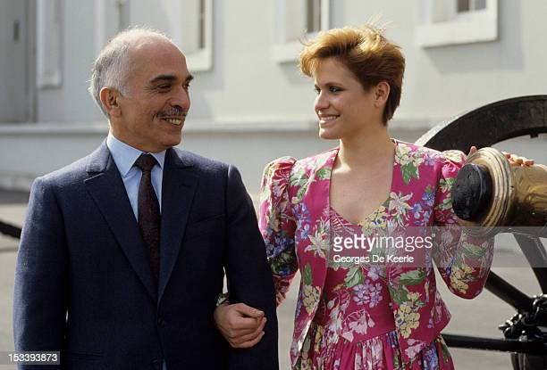 King Hussein of Jordan with his daughter Princess Aisha at Sandhurst military academy in 1987