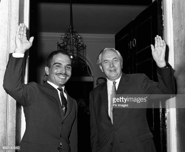 King Hussein of Jordan with Prime Minster Harold Wilson waving to the crowd in Downing Street whilst on a state visit to Britain R/I 22/8/93