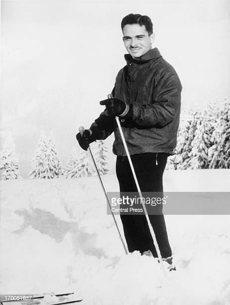 King Hussein skiing whilst on winter vacation in Gstaad Switzerland 29th December 1959
