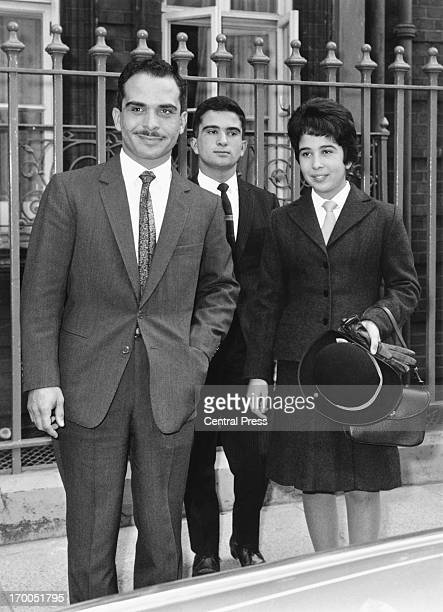 King Hussein with his brother Prince El Hassan bin Talal and sister Princess Basma bint Talal of Jordan leaving Claridges Hotel London 20th September...