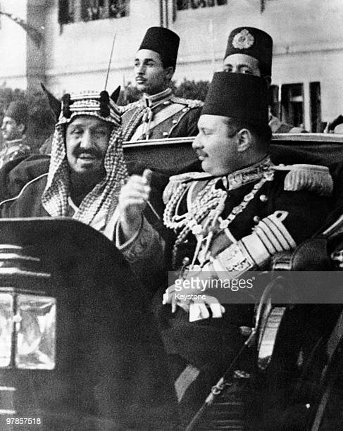 King Ibn Saud of Saudi Arabia in Cairo with King Farouk I of Egypt during a state visit by the Saudi monarch 1945