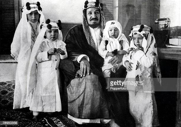 King Ibn Saud of Suadi Arabia pictured with his four grandchildren 1935