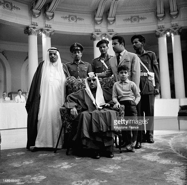 King Ibn Seoud in the Negresco Hotel with little Prince Hassan and Prince Mansour on April 1 1963 in Nice France