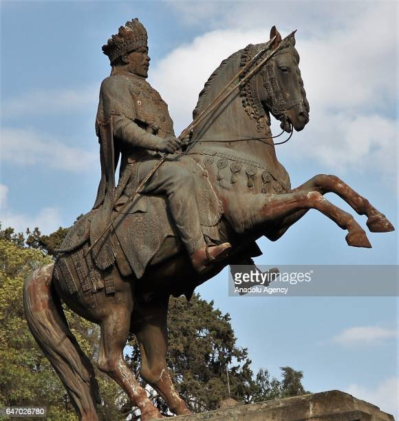 King II Menelik statue is seen during the celebration of the 121st Anniversary of Ethiopia's Battle of Adwa at King II Menelik Square in Addis Ababa...