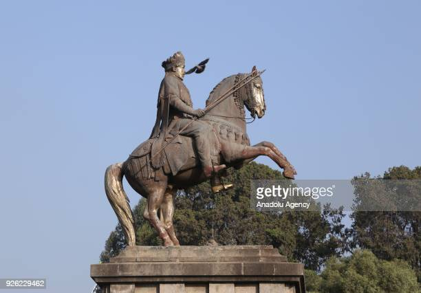 King II Menelik statue is seen during the celebration of the 122nd Anniversary of Ethiopia's Battle of Adwa at King II Menelik Square in Addis Ababa...
