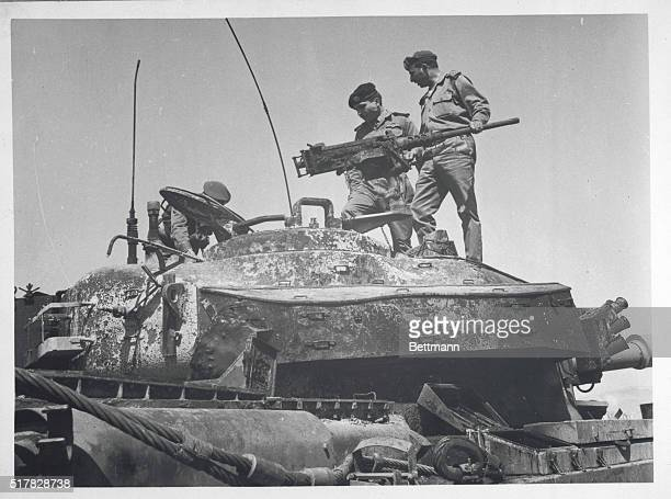 King Inspects Tank Amman Jordan Jordan's King Hussein stands on a tank which according to Jordanian sources was left behind by Israeli forces at the...