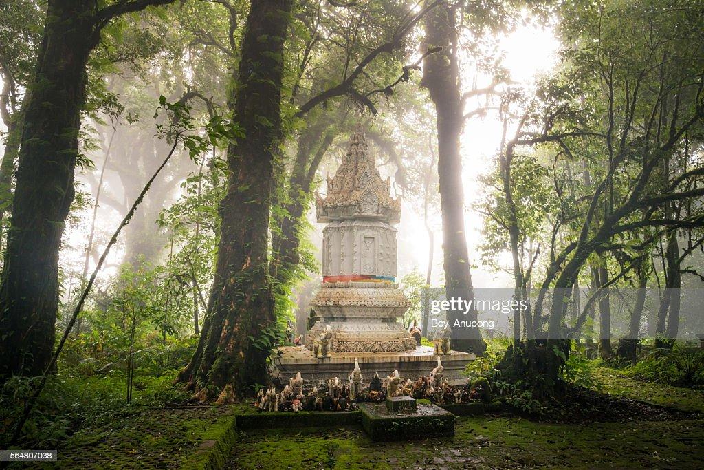 King Inthawichayanon's stupa on the top of Doi Inthanon mountain the highest mountain of Chiangmai, Thailand. : Stock Photo