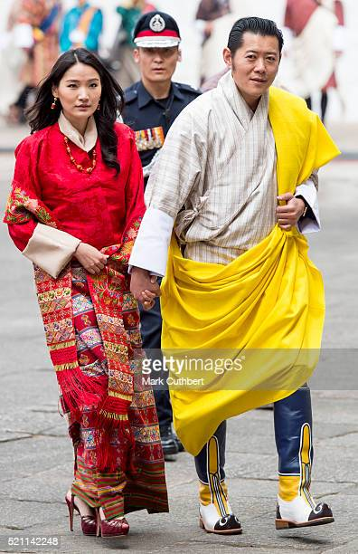 King Jigme Khesar Namgyel Wangchuck and Queen Jetsun Pema at TaschichhoDzong on April 14 2016 in Thimphu Bhutan