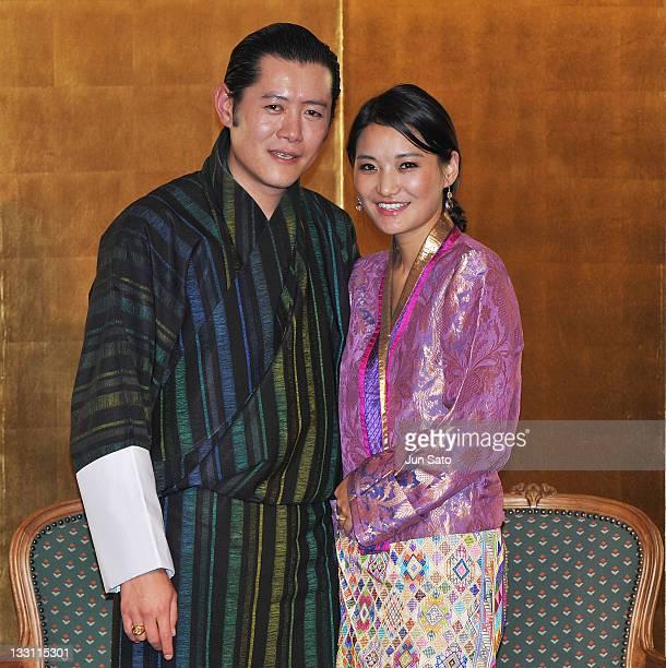 King Jigme Khesar Namgyel Wangchuck and Queen Jetsun Pema of Bhutan attend the Japan - Bhutan friendship reception at the New Otani Hotel on November...