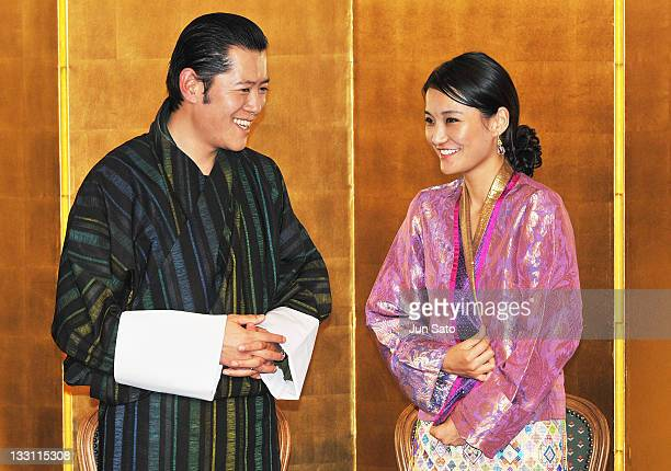 King Jigme Khesar Namgyel Wangchuck and Queen Jetsun Pema of Bhutan attend the Japan Bhutan friendship reception at the New Otani Hotel on November...