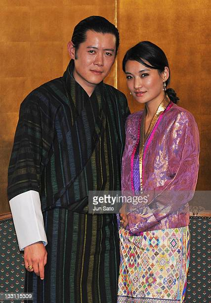 King Jigme Khesar Namgyel Wangchuck and Queen Jetsun Pema of Bhutan attend the Japan Bhutan friendship reception at New Otani Hotel on November 17...