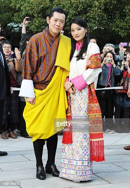 King Jigme Khesar Namgyel Wangchuck and Queen Jetsun Pema of Bhutan arrive at Meiji Jingu Shrine on November 17, 2011 in Tokyo, Japan.